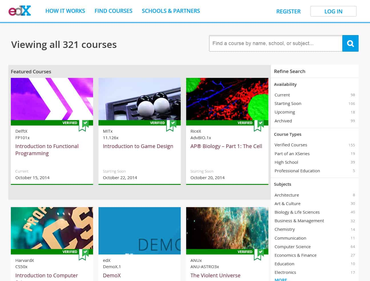edX old course search