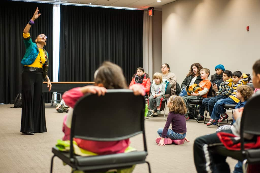 Linda Gorham leads Multicultural Folktales in the Radmacher Meeting Room.