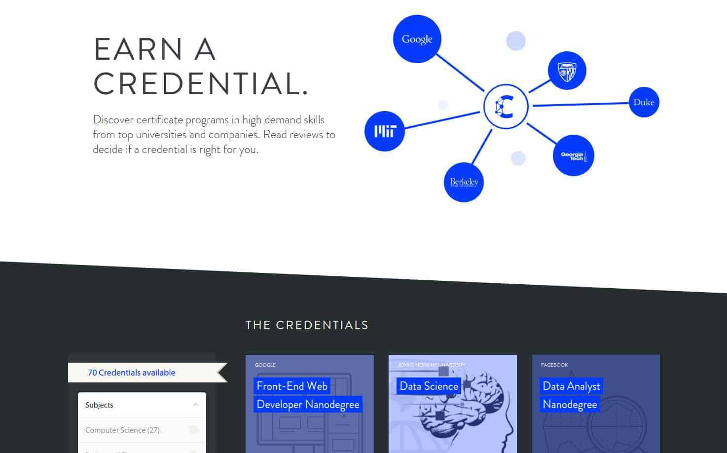 Class Central Credentials Page