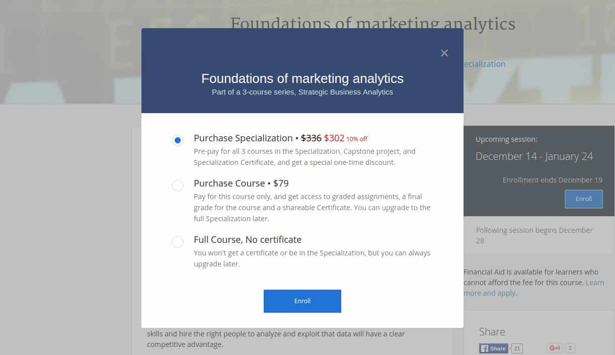 Coursera Enroll Popup
