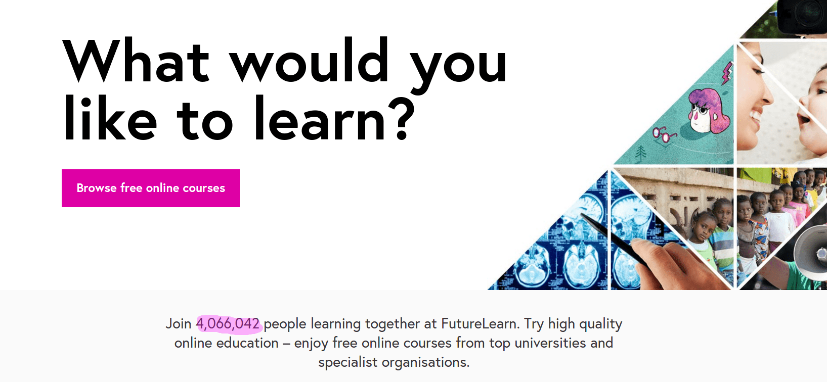 Futurelearn Homepage - 4 Million