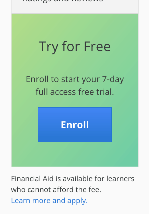 Try for Free - Coursera Enroll Button