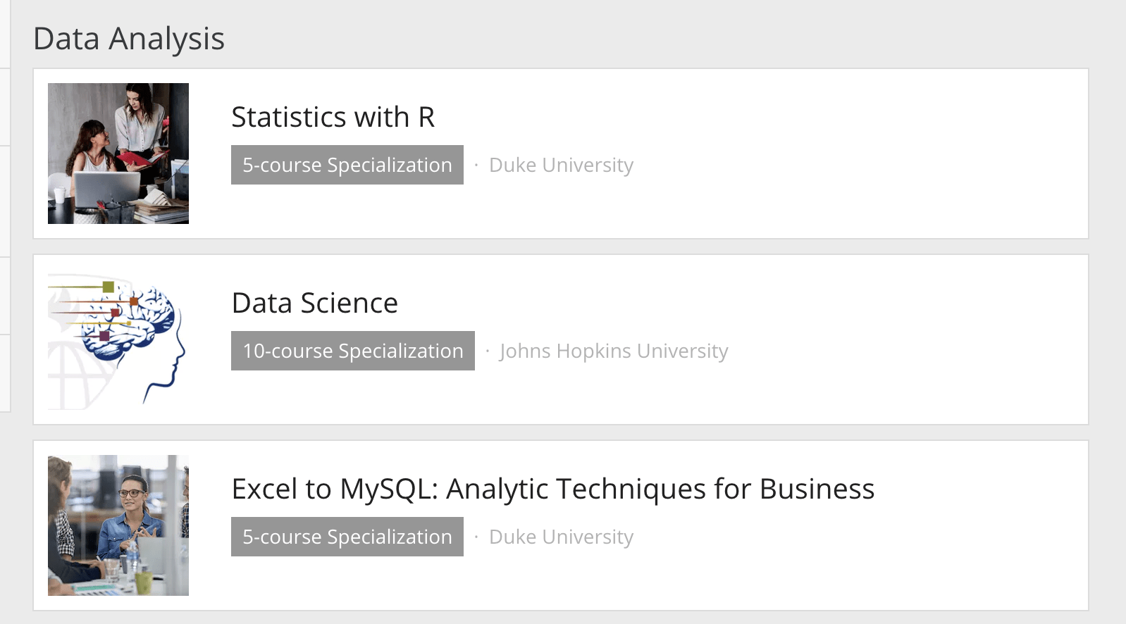 Coursera Specalizations listed in catalog