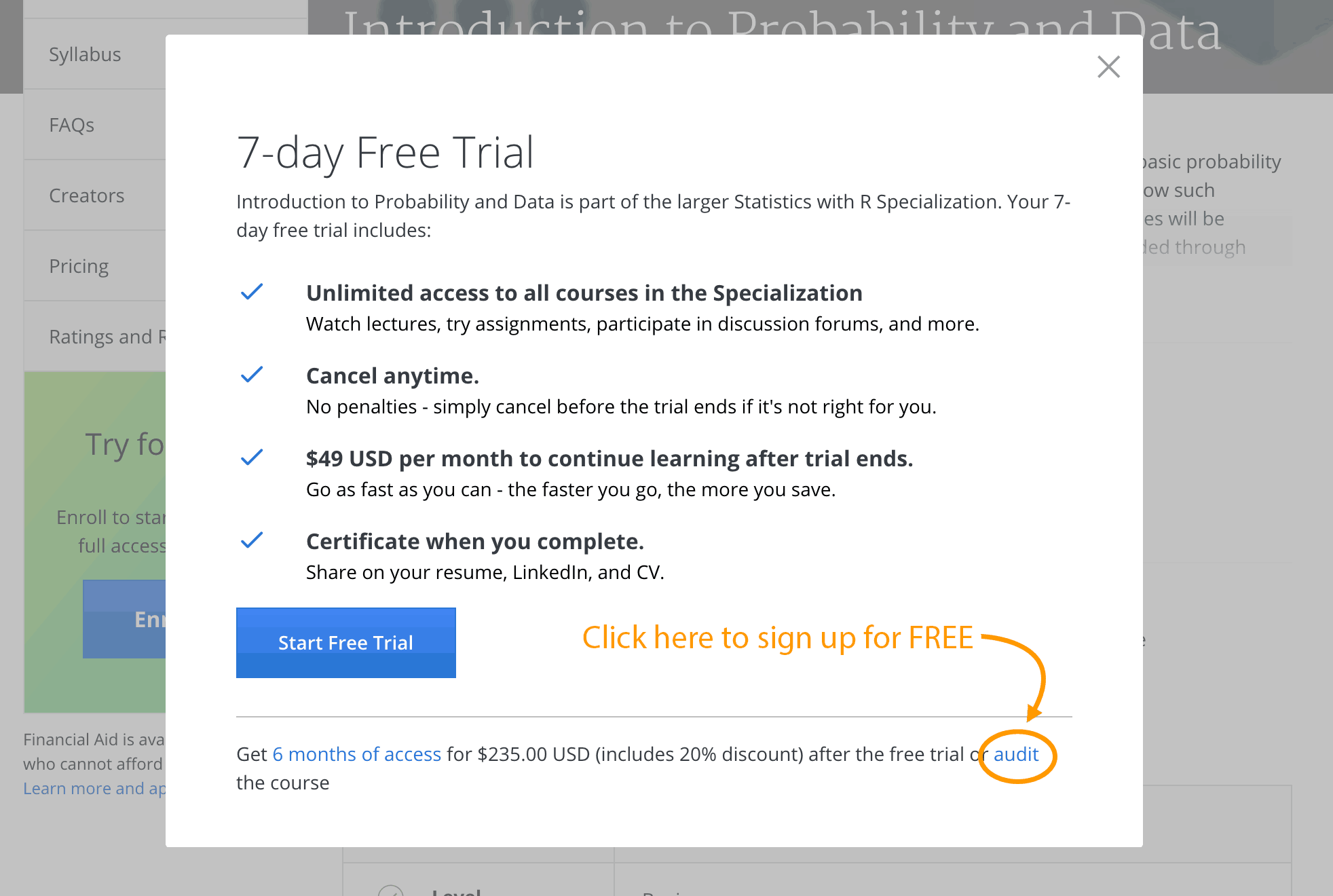 Coursera how to signup for free