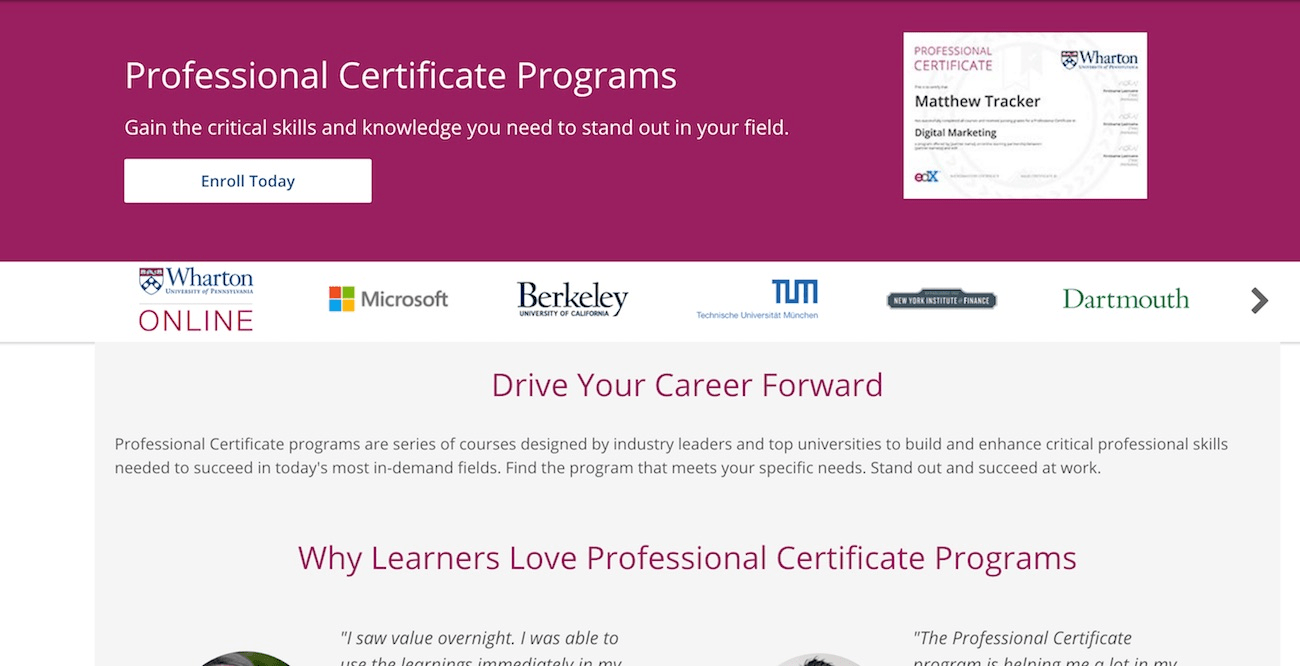 Professional certificate program on edX website
