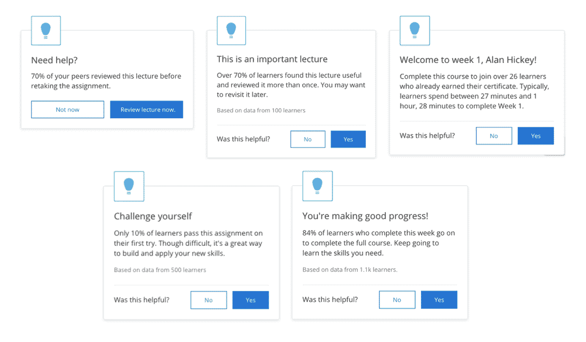 Examples of Coursera's automated coaching
