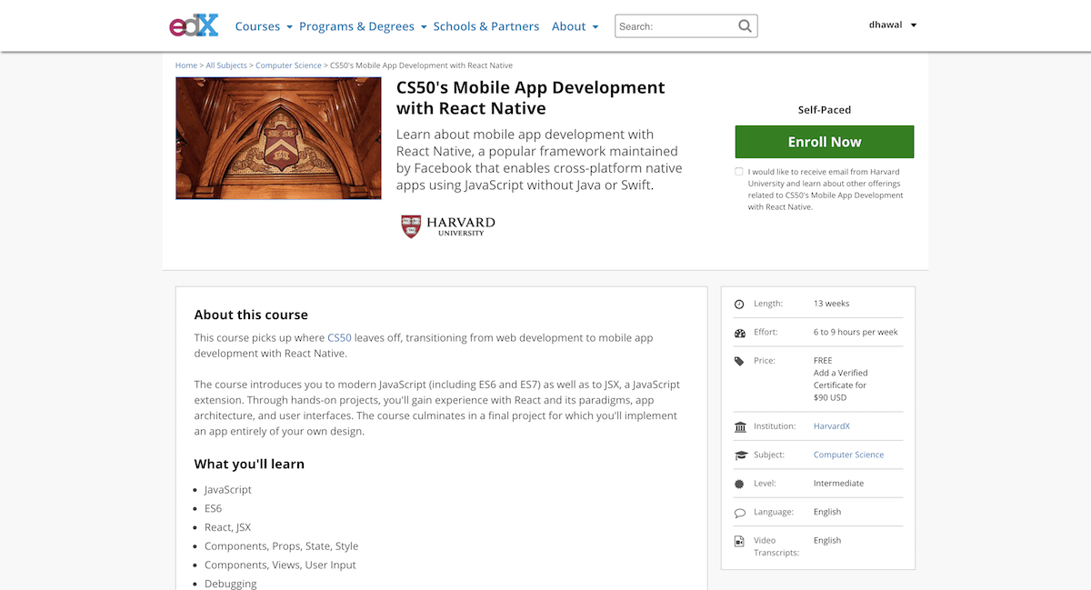 CS50 React Course EdX Screenshot - Class Central's MOOC Report
