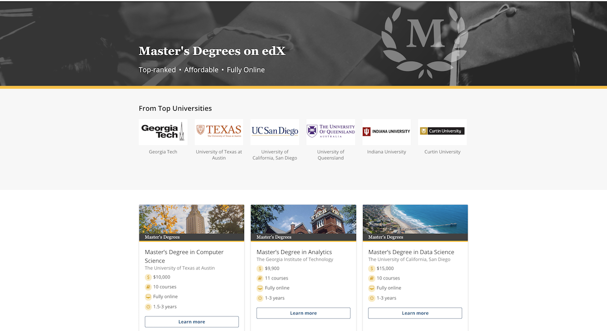 7 New MOOC-Based Fully Online Master's Degrees Announced by
