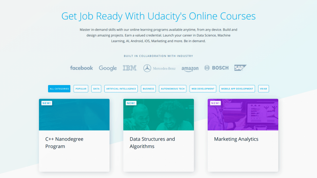 Udacity homepage with new Nanodegrees
