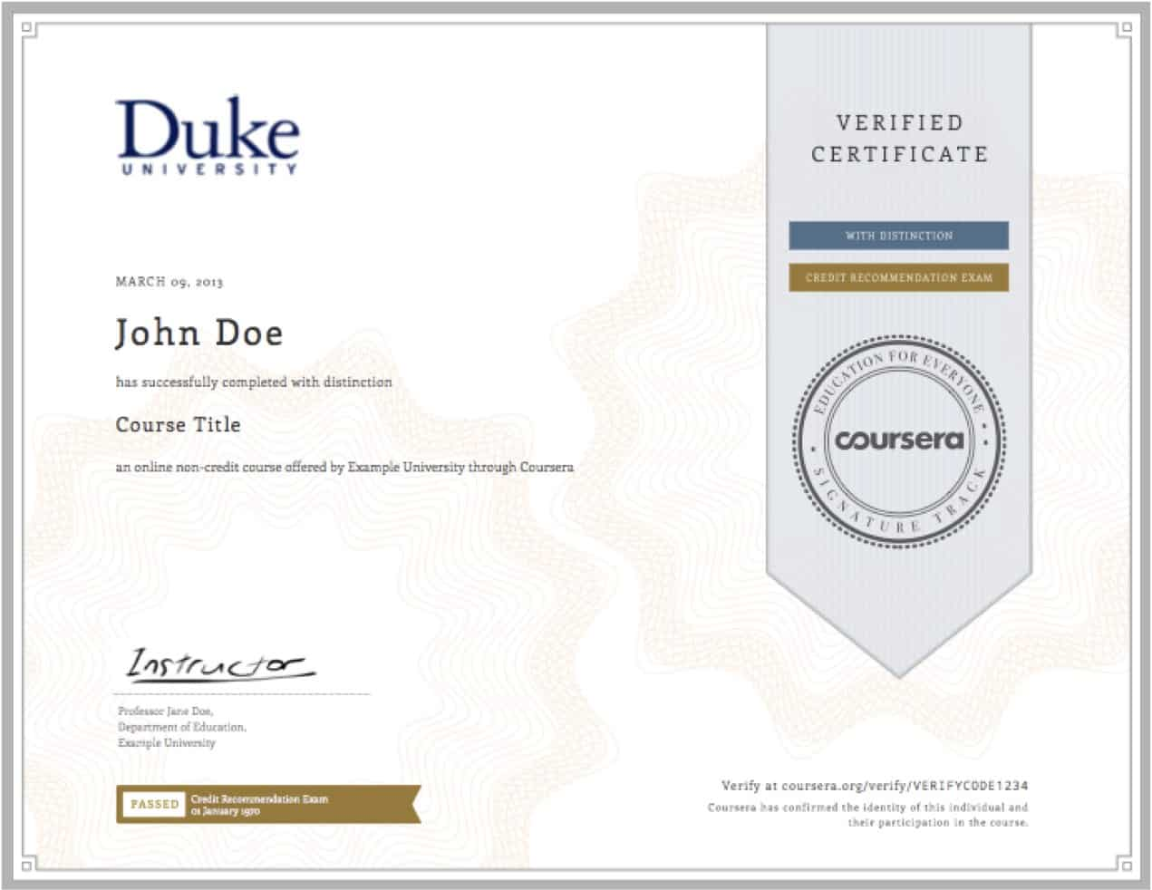 Coursera Verified Certificate