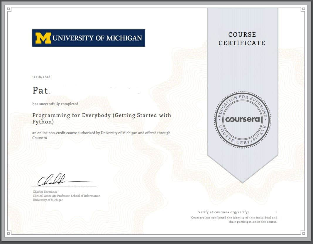 Coursera Programming certificate