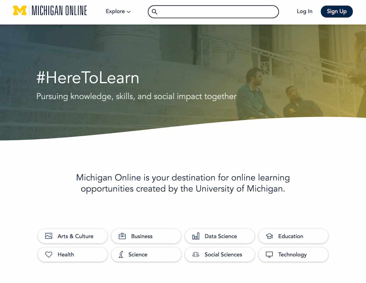 Michigan Online homepage screenshiot