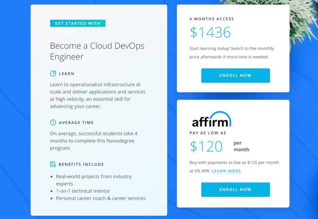 Udacity Cloud Devops Nanodegree pricing page screenshot