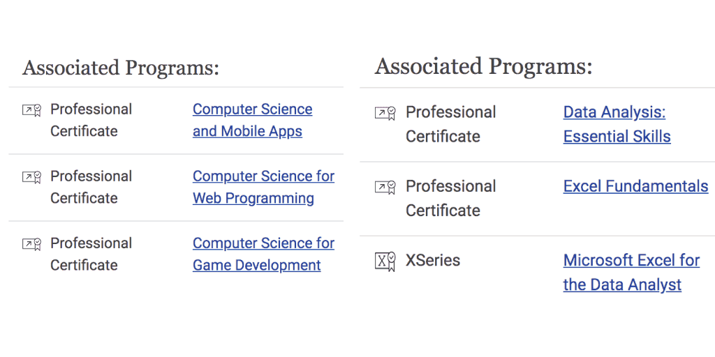 Screenshot: edX courses part of multiple microcredentials