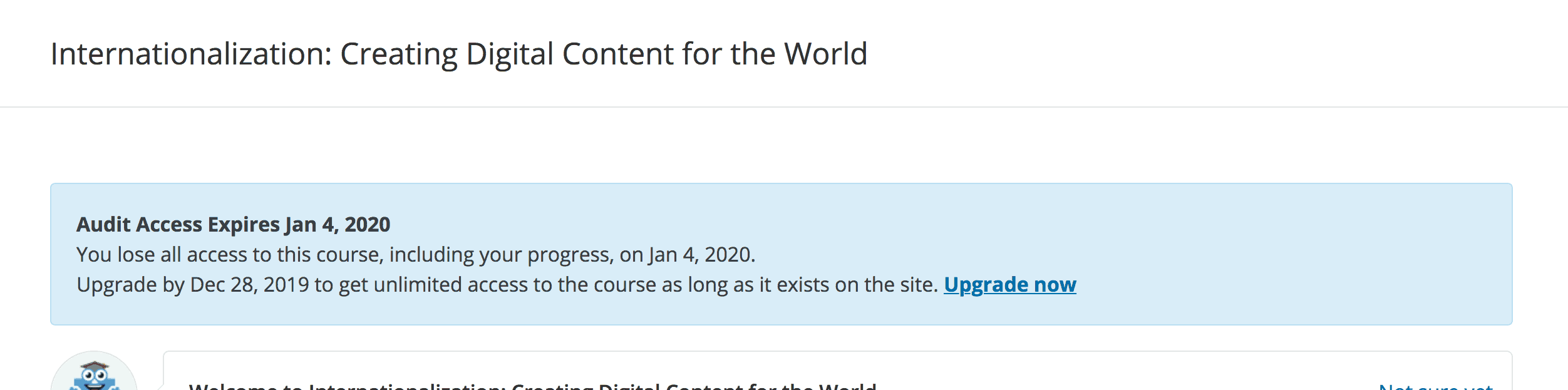 edX course screenshot describing how long the course is accessible