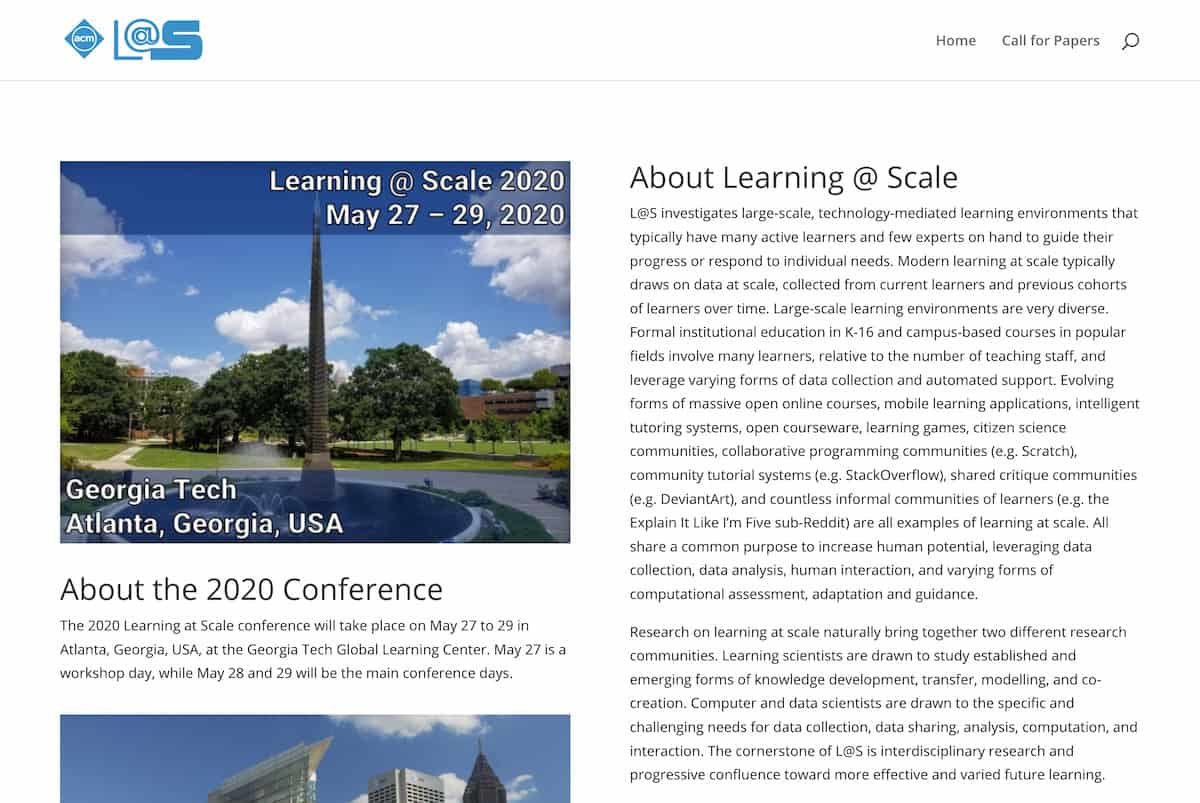 Learning at Scale 2020 homepage screenshot