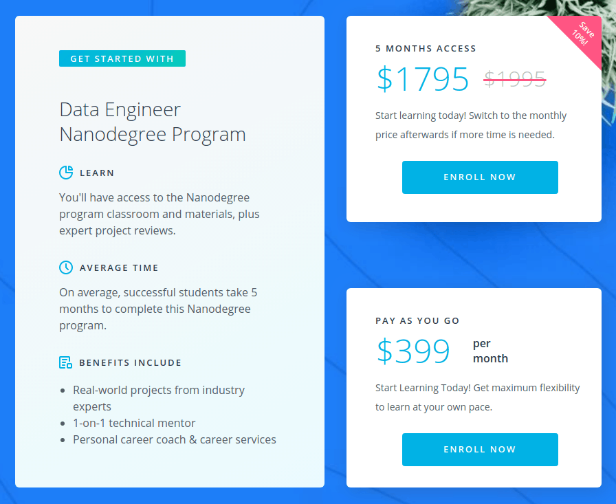 Data Engineer Nanodegree Cost