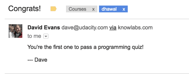 Udacity Dave Evans Email to Dhawal
