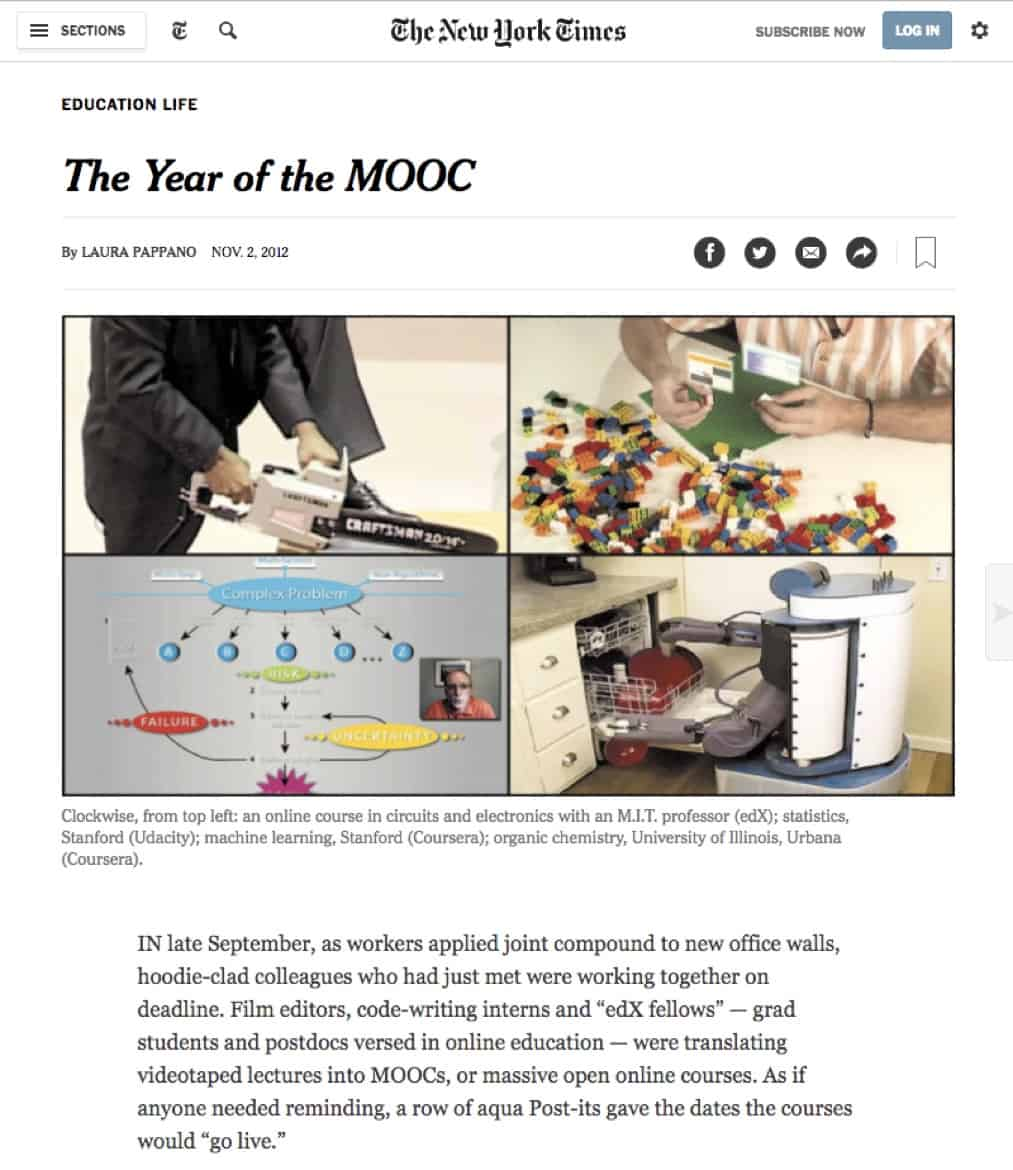 Year of the MOOC - NYT