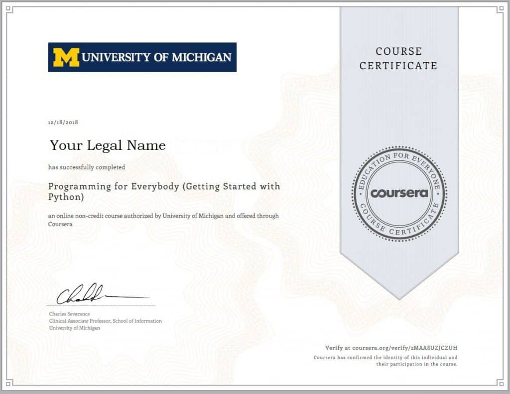 Pythong for Everybody: Coursera certificate