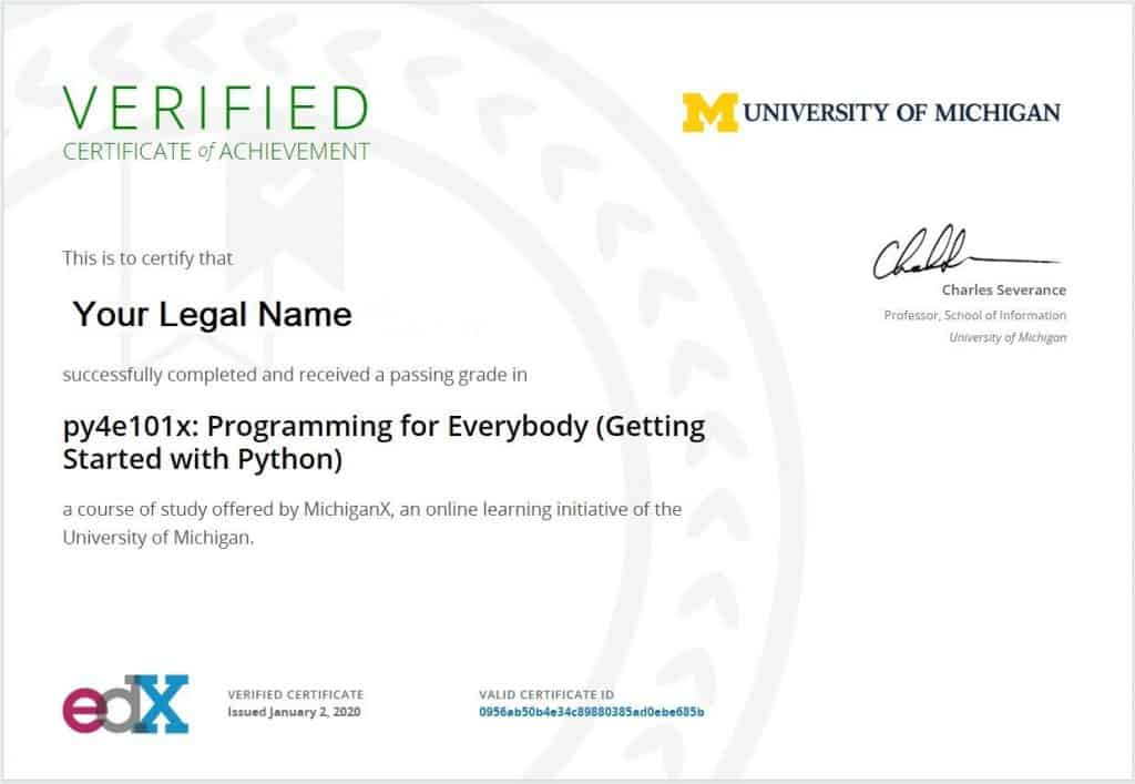 Python for Everybody: edX certificate