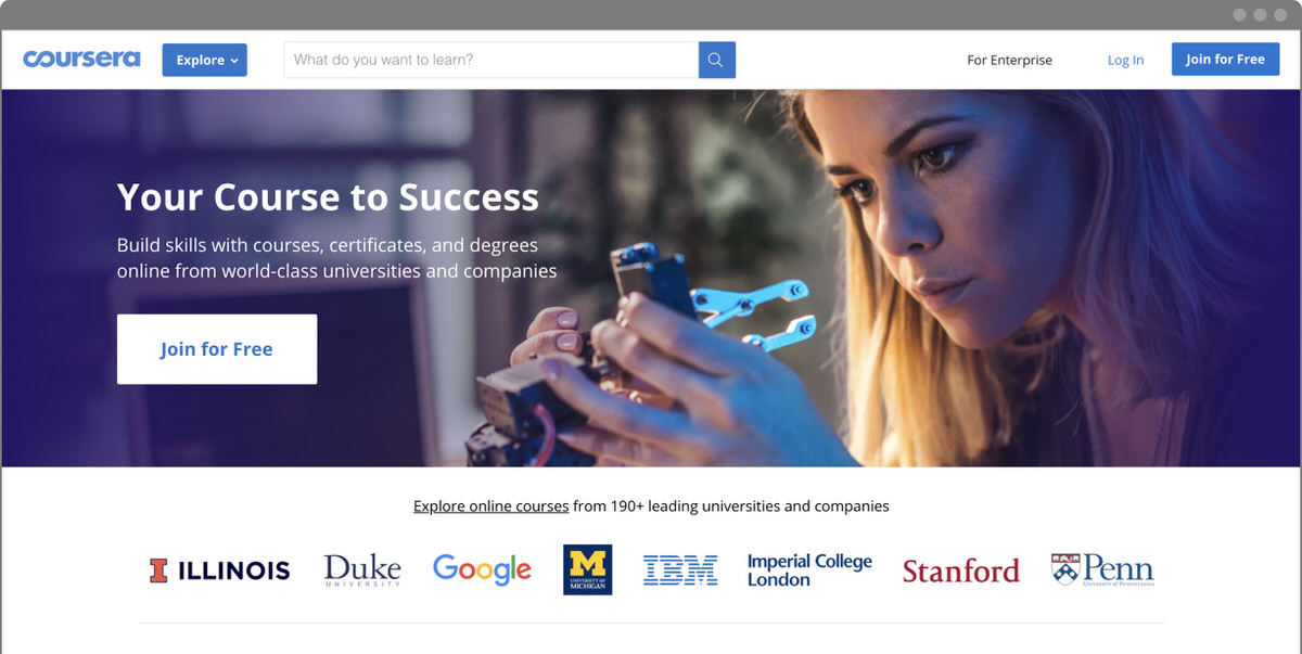 Coursera Screenshot - Homepage