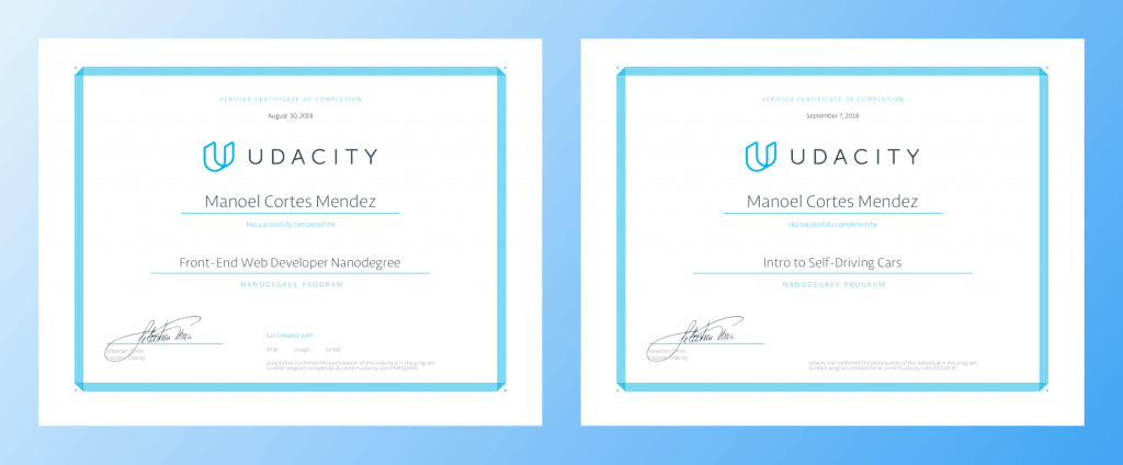 Two Udacity Nanodegree certificats side by side
