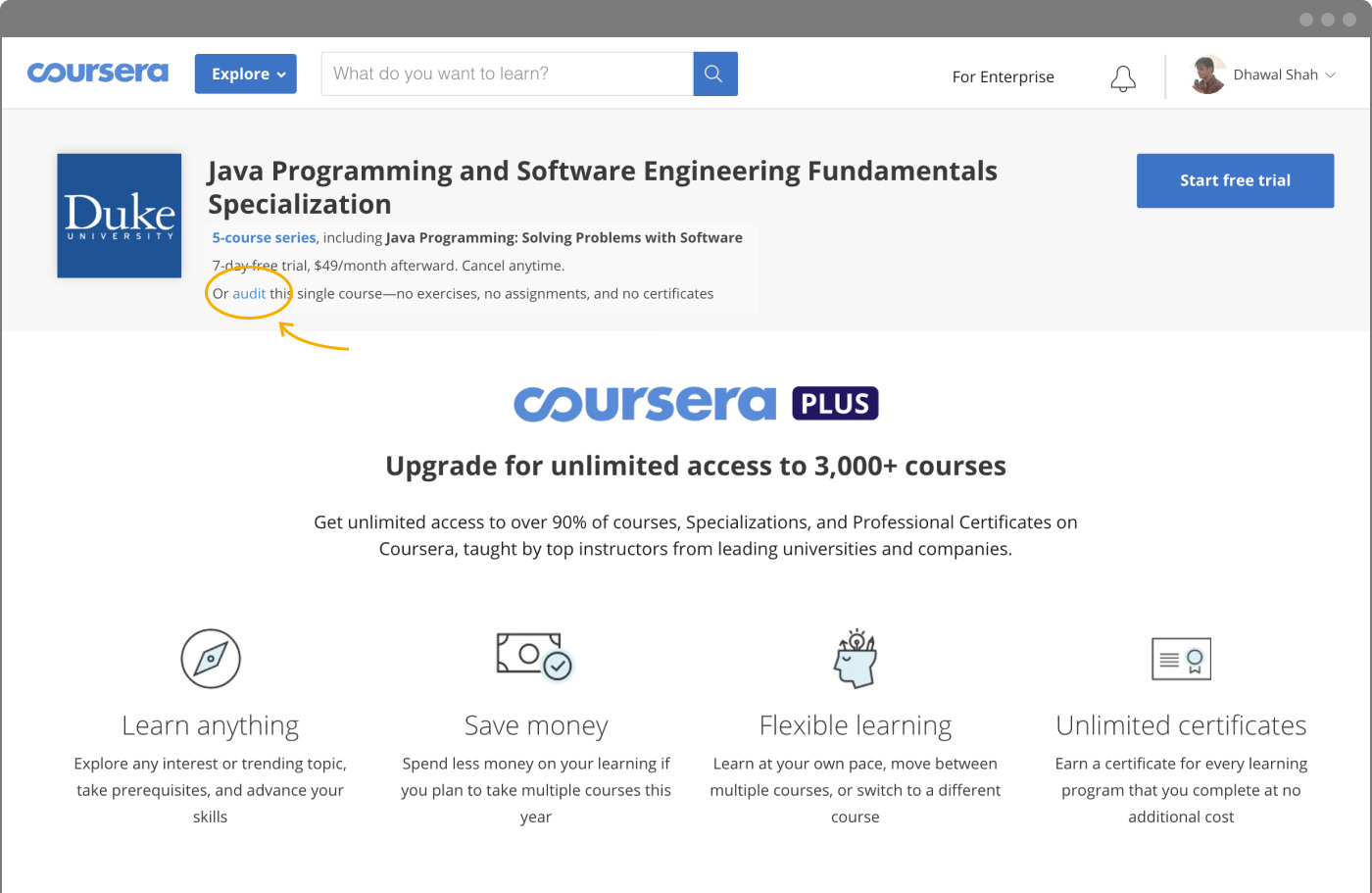 Coursera Audit Link