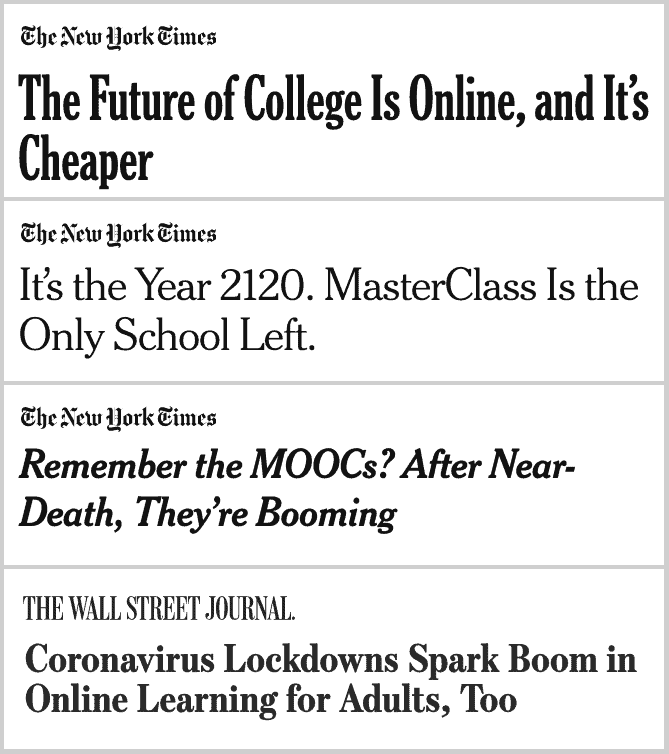 Screenshot of NYT and WSJ article titles