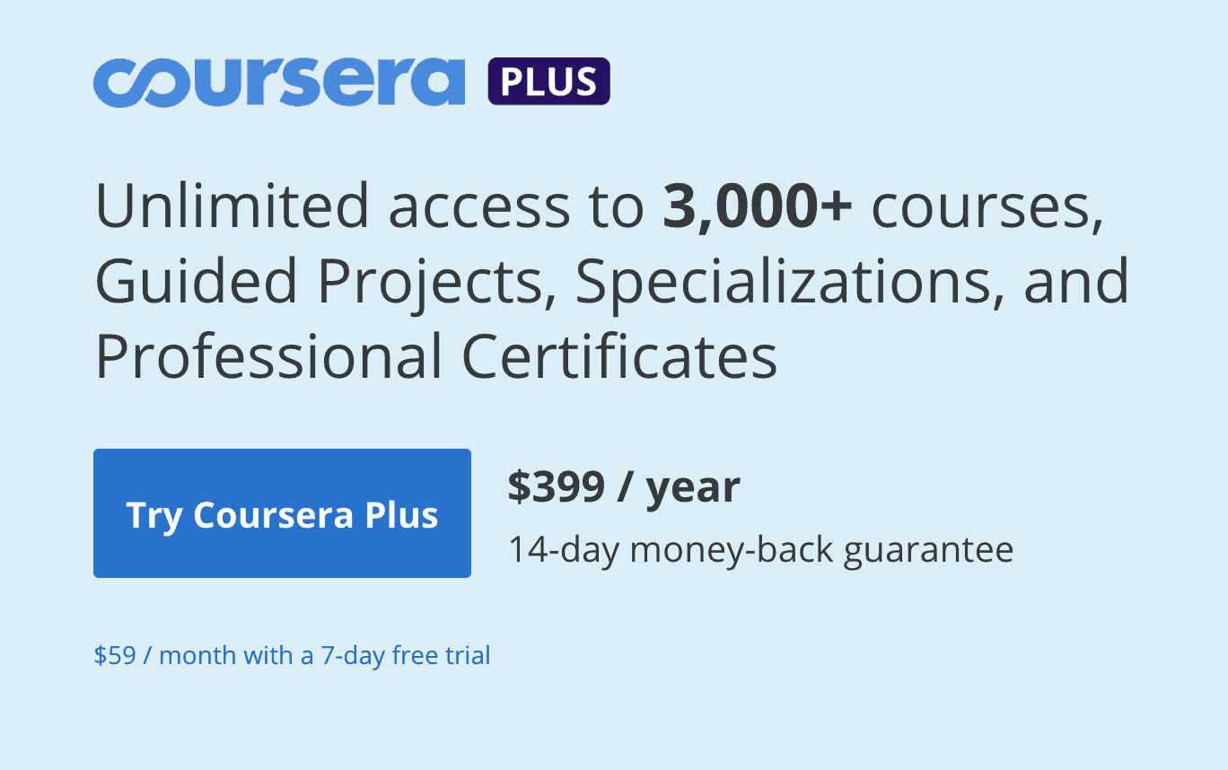 Coursera Plus annual subscription