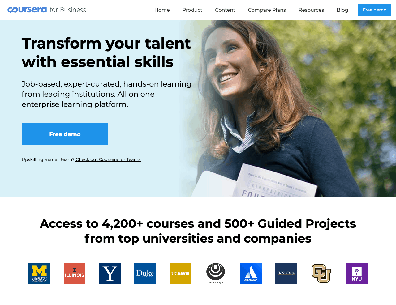 Coursera for Business landing page screenshot