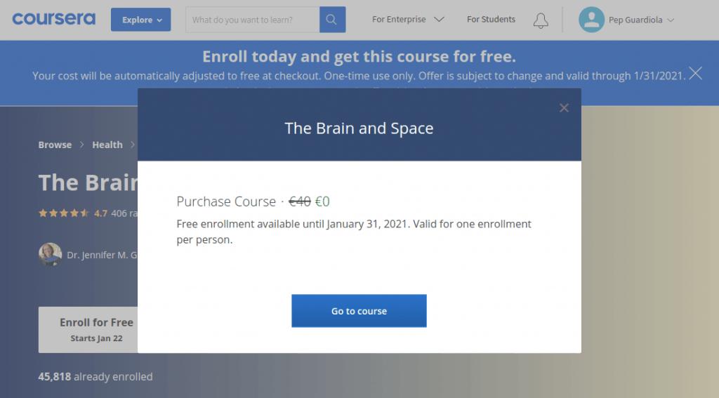 Free course confirmation