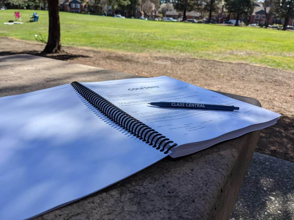 Reading Coursera's S-1 at the park