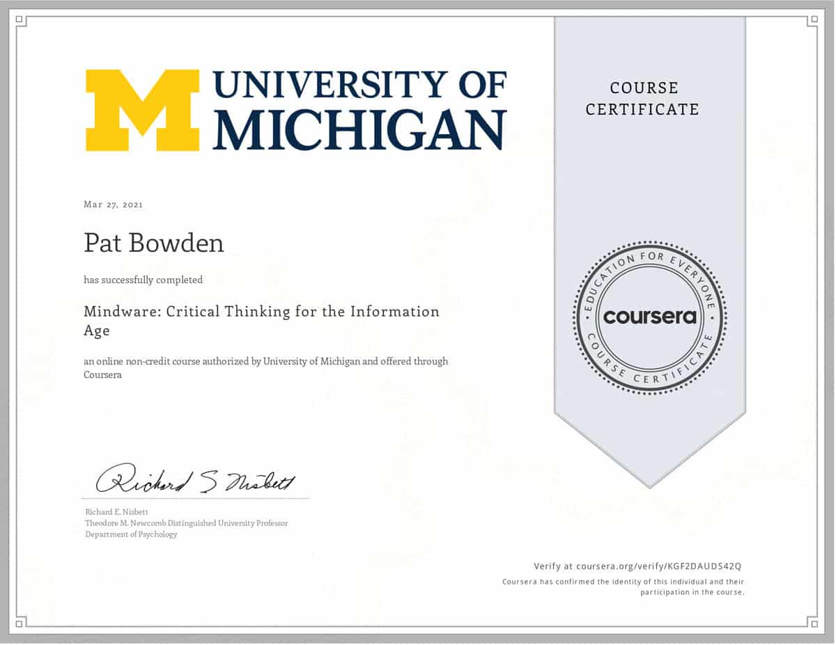 Coursera certificate earned by Pat for Mindware course