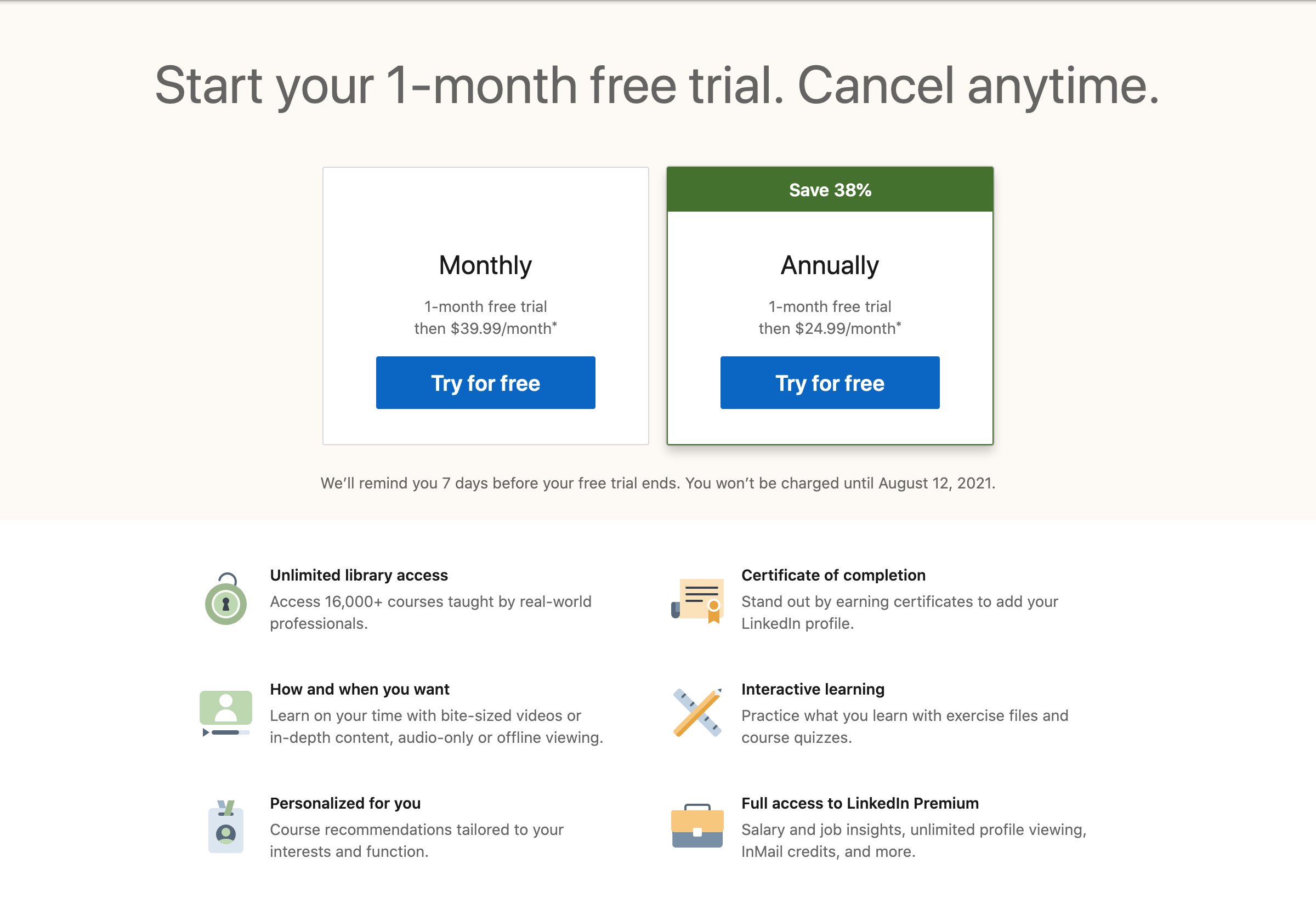 LinkedIn Learning pricing page screenshot