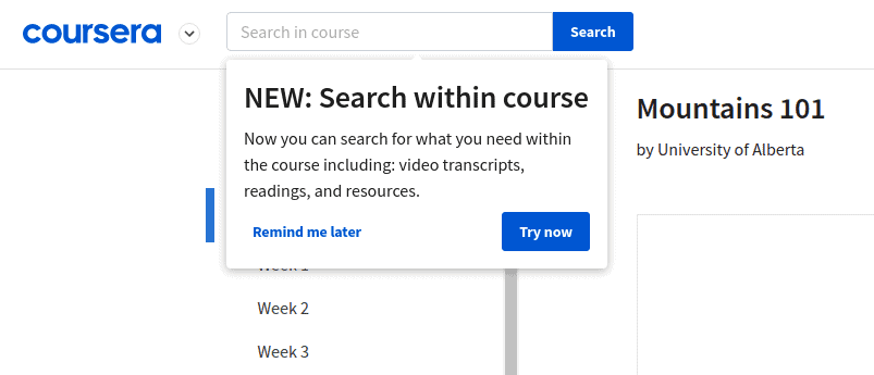 Coursera's new functionally: search within a course